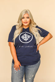 Kiki LaRue Logo Tee Crew Neck Short Sleeved Super Soft - Navy