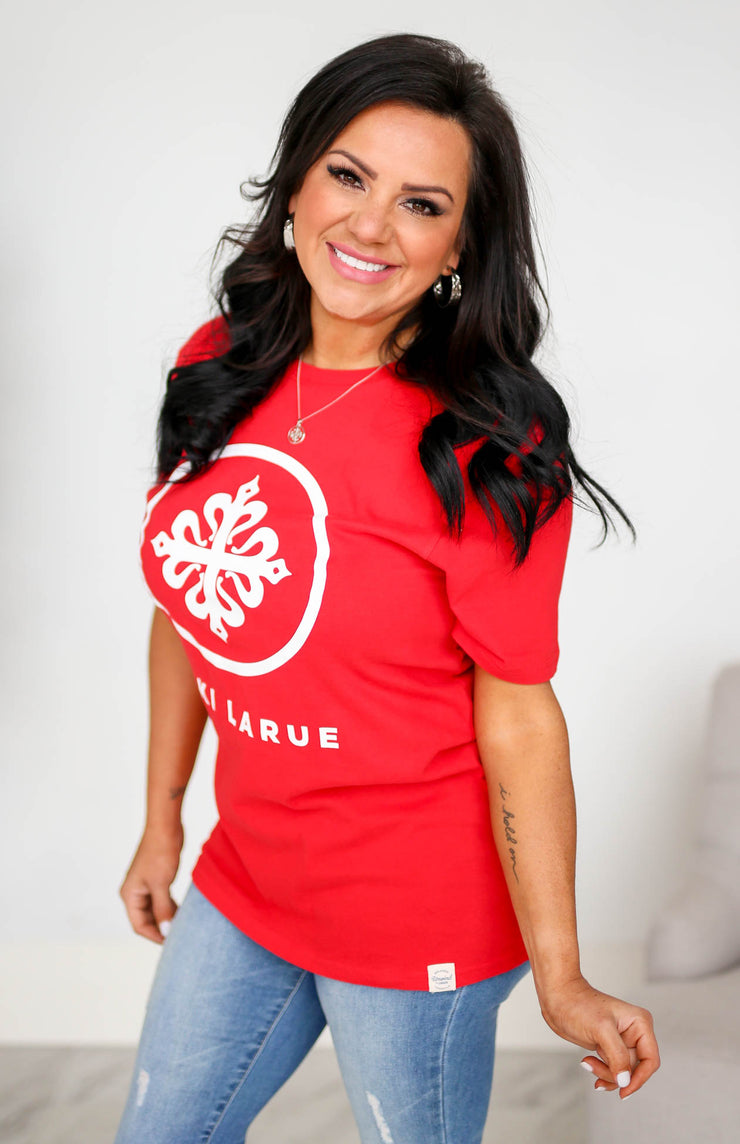 Kiki LaRue Logo Tee Crew Neck Short Sleeved Super Tee - Red