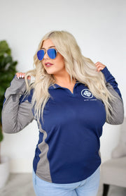 Kiki LaRue Logo UV Quarter Zip Pullover - Navy and Grey
