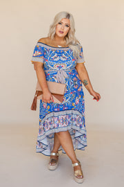 Laken Blue Off The Shoulder Dress
