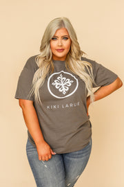 Kiki LaRue Logo Tee Crew Neck Short Sleeved - Grey