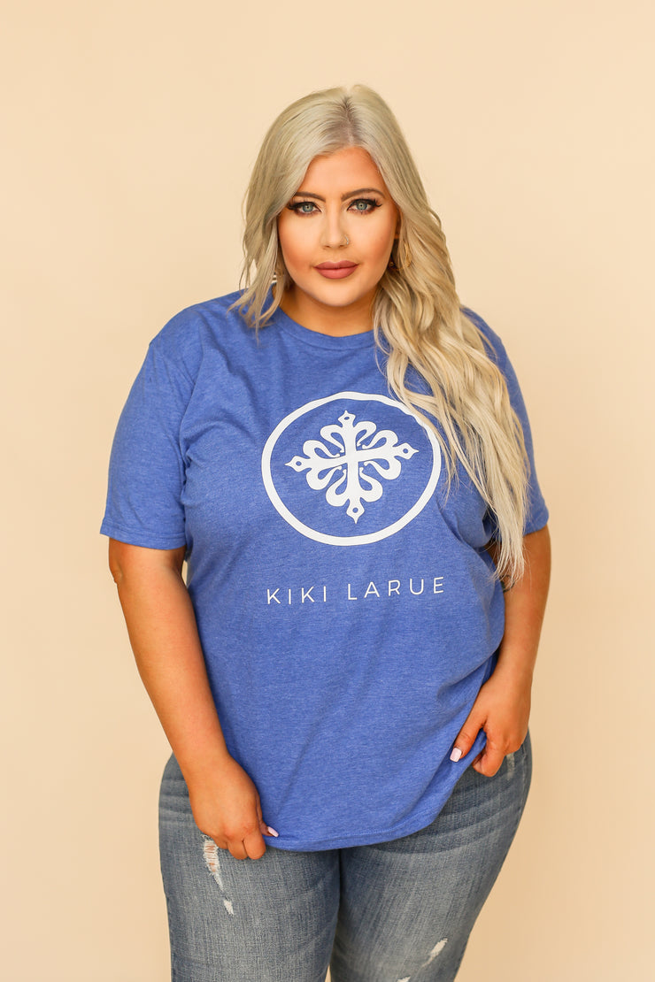 Kiki LaRue Logo Tee Crew Neck Short Sleeved Tri-Blend - Blue