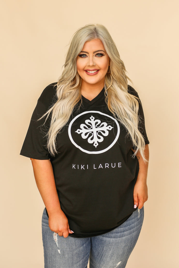 Kiki LaRue Logo Tee V-Neck Short Sleeved Tri-Blend - Black