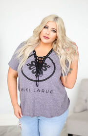 Kiki LaRue Logo Lace Up Shirt