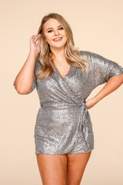 Kiki LaRue Becka's Birthday Sequin Wrap Romper - Grey