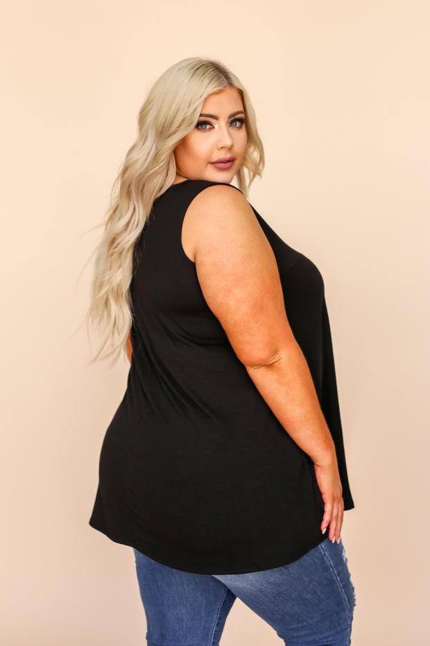 Lulu Black V-Neck Pocket Tank