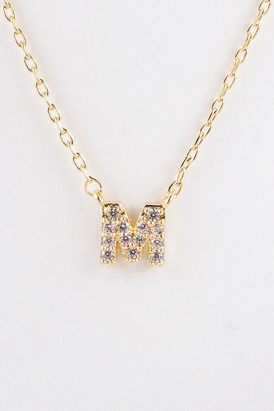 Pave Cubic Zirconia Initial Necklace - Gold