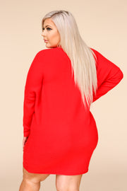 Maddox Red Ribbed Tunic Sweater