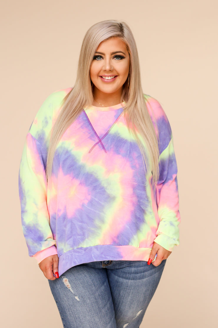 Natalia Lightweight Tie Dye Top - Purple
