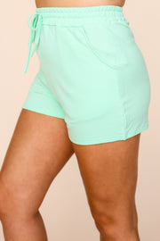 Kiki LaRue Percy Mint Cozy Elastic Band Pocket Shorts