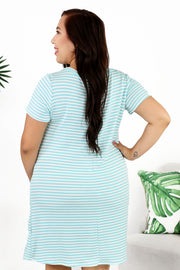 Lounge by Kiki LaRue: Santorini Dress - Mint/White