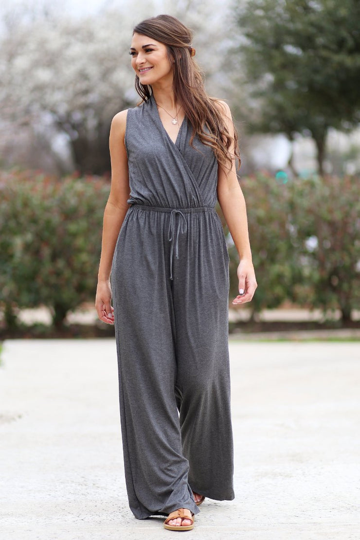 The Office Edit x Kiki LaRue: Sleeveless In Sarasota Jumpsuit - Charcoal