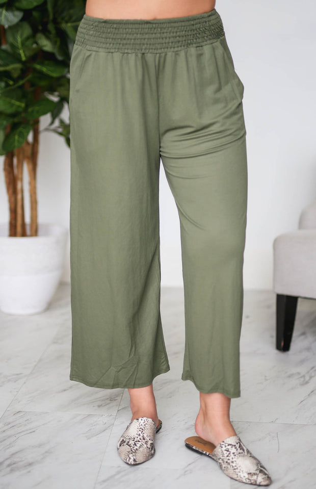 Springer Olive Smocked Waist Pants