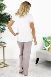 Plush Lounge by Kiki LaRue: Tahiti Wide Leg Pants - Blush