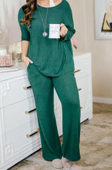 Lounge by Kiki LaRue: Tahiti Wide Leg Pants - Hunter Green