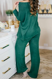 Plush Lounge by Kiki LaRue: Tahiti Wide Leg Pants - Hunter Green