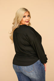 Kiki LaRue Tasha Black Pillow Sleeve Tie Front Top