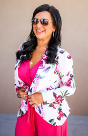 The Office Edit x Kiki LaRue: Boss Lady Blazer White/Fuchsia