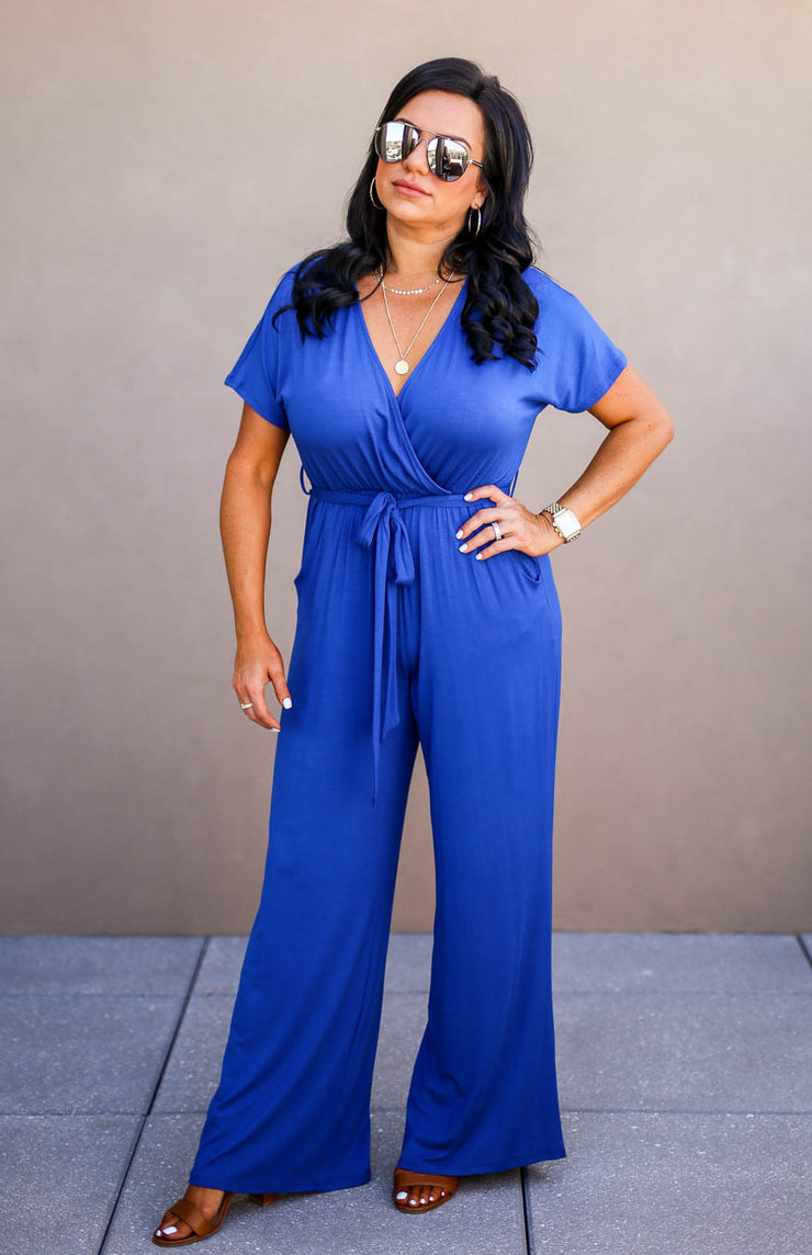 The Office Edit x Kiki LaRue: Capped Off Jumpsuit - Blue