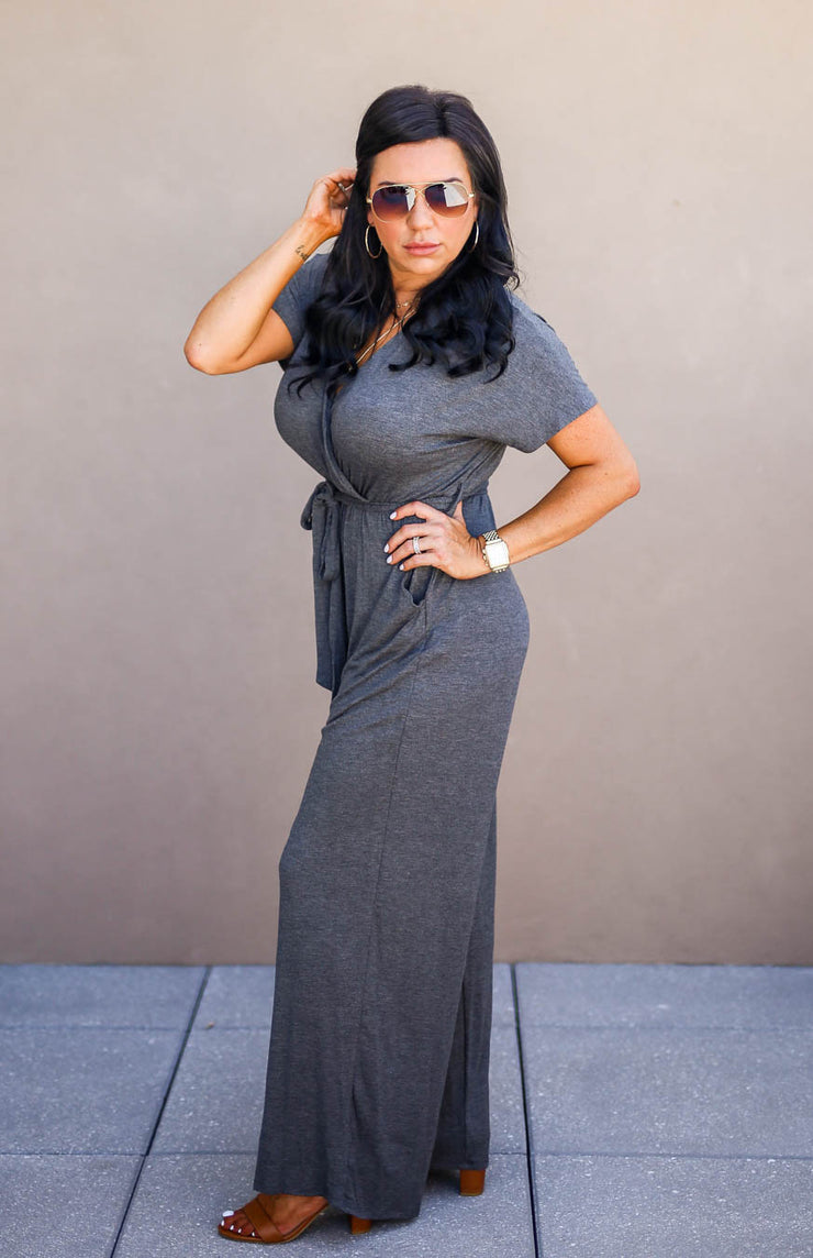 The Office Edit x Kiki LaRue: Capped Off Jumpsuit - Charcoal