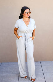 The Office Edit x Kiki LaRue: Capped Off Jumpsuit - Heather Grey