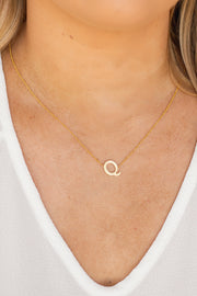 Tilted Initial Gold Dipped Necklace
