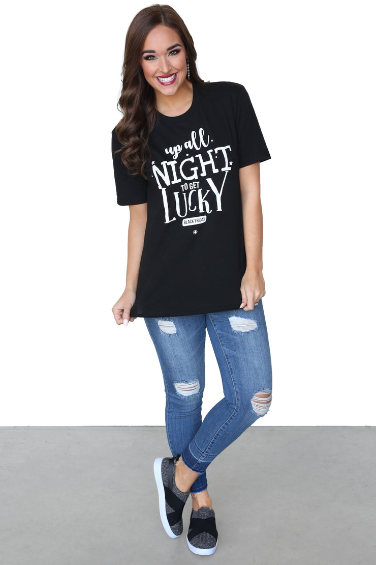 Old Henry Threads For Kiki LaRue: Up All Night To Get Lucky Black Friday Tee