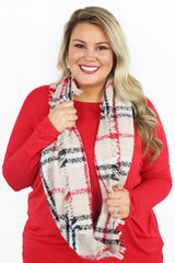 Winter Vibes Plaid Infinity Scarf - Beige