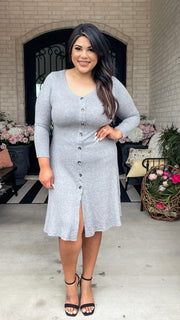 Clover Button Down Midi Dress - Grey