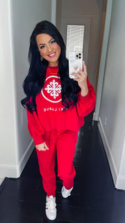 Betty Bubble Sleeve Jogger Set - Ruby with White Glitter Logo