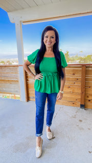 Dixie Smocked Ruffle Top - Green