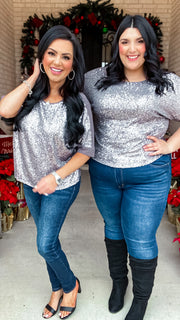 Jones Sequin Top - Grey