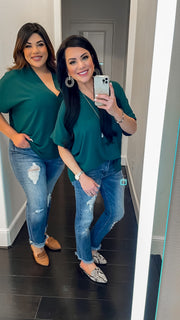 Jana V-Neck Top - Hunter Green