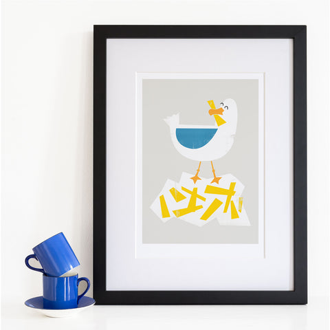 Quirky Brighton Seagull Art Print