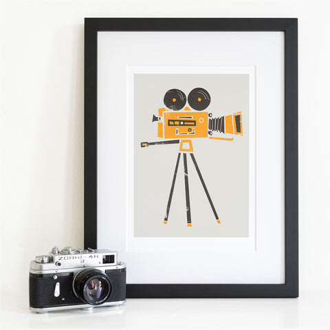 Retro Cine Camera Art Print
