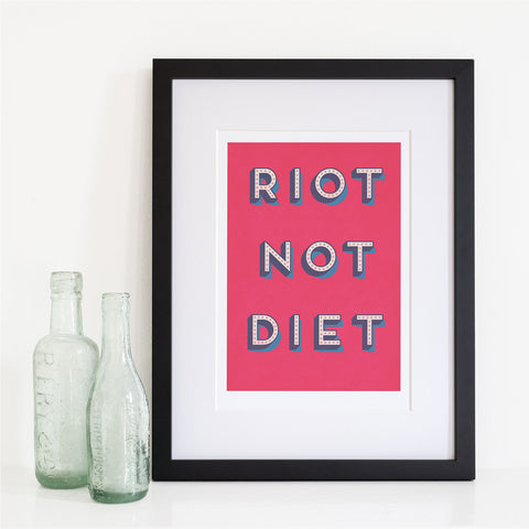 Hot Pink Riot Not Diet Retro Typography Kitchen Art Print