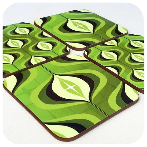 Green Mid Century Op Art Coaster - Choice of Designs