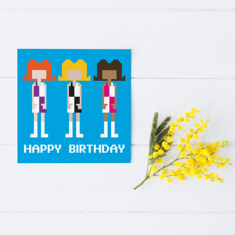 Pixel Party '60s Girls' Birthday Card