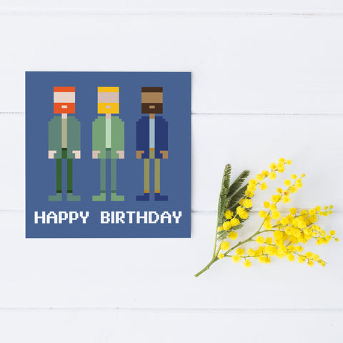Pixel Party 'Bearded Guys' Birthday Card