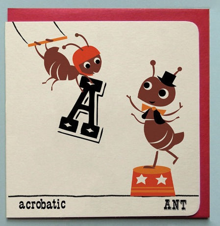 Acrobatic Ant Retro Greeting Card