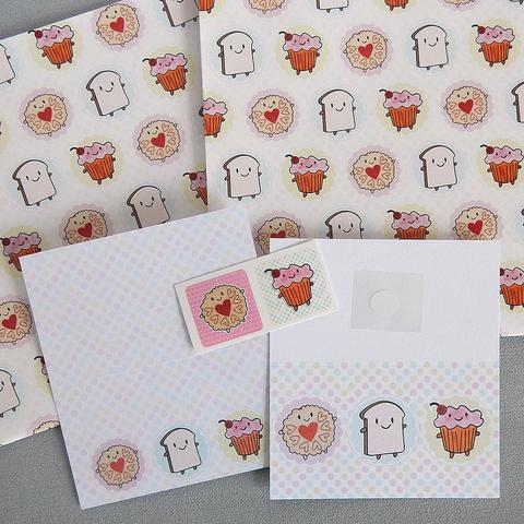 Kawaii Afternoon Tea Gift Wrap Set - 2 Sheets, 2 Gift Cards and 2 Stickers