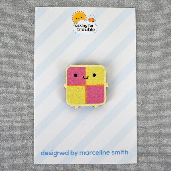 Kawaii Battenburg Cake Wooden Pin