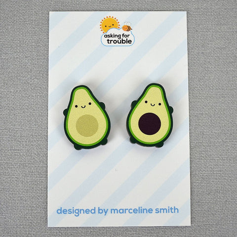Mini Kawaii Avocado Pin Set