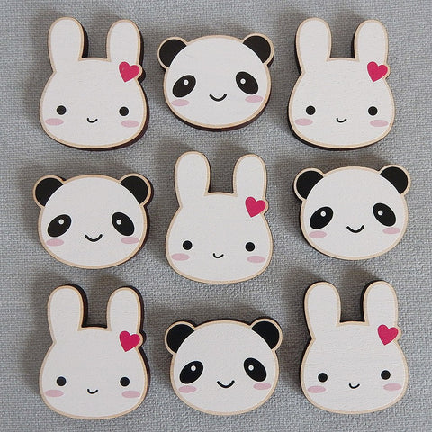 Kawaii Animal Wooden Brooch - Choice of Designs (Bunny or Panda)
