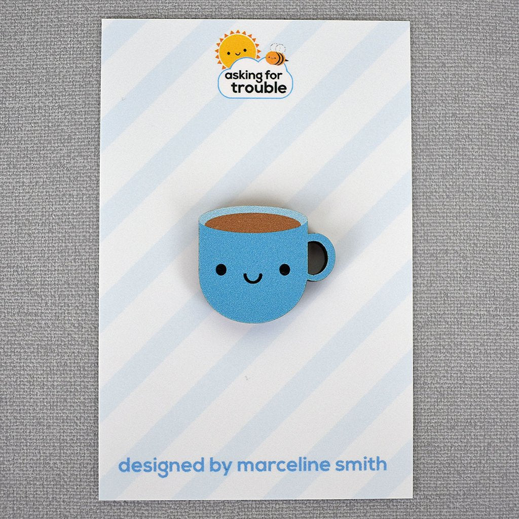 Kawaii Cup of Tea Wooden Pin