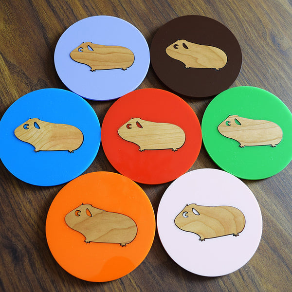 Double Layered Guinea Pig Coaster - Choice of Colours