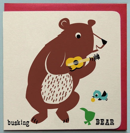Busking Bear Retro Greeting Card