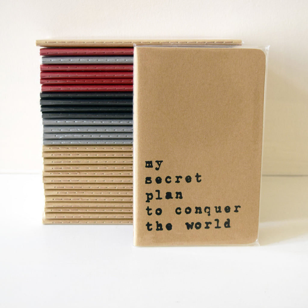 My Secret Plan to Conquer the World Typography Hand Screen Printed Moleskine Notebook