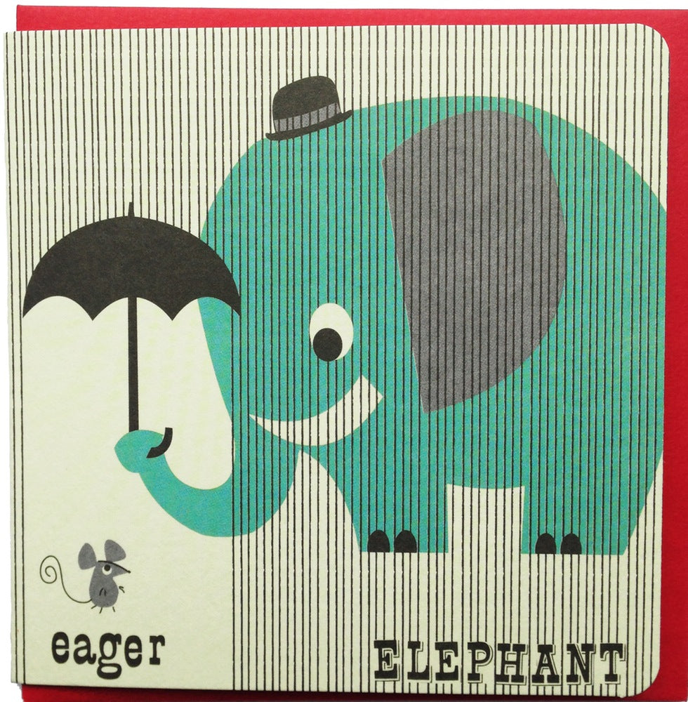 Eager Elephant Retro Greeting Card - ONLY ONE LEFT