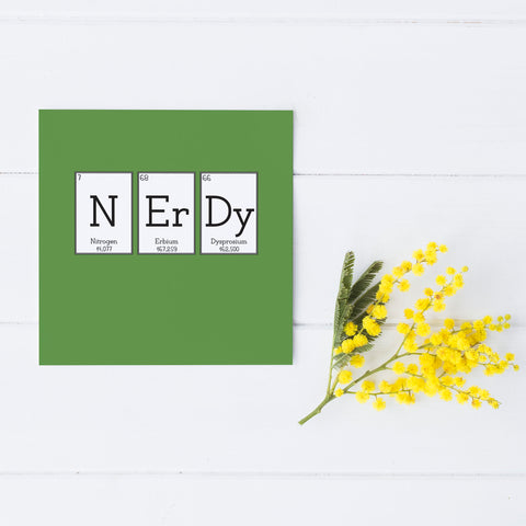 Green 'Nerdy' Elemental Greeting Card